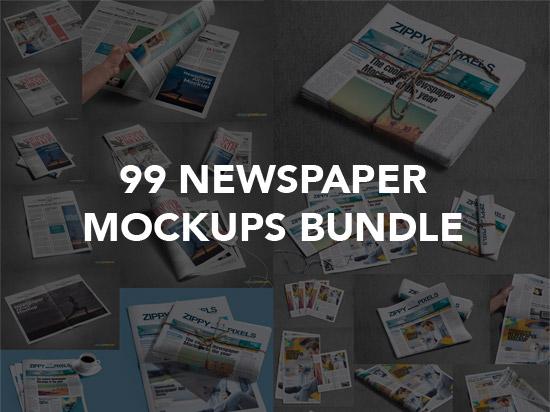 99 Newspaper mockups bundle graphics