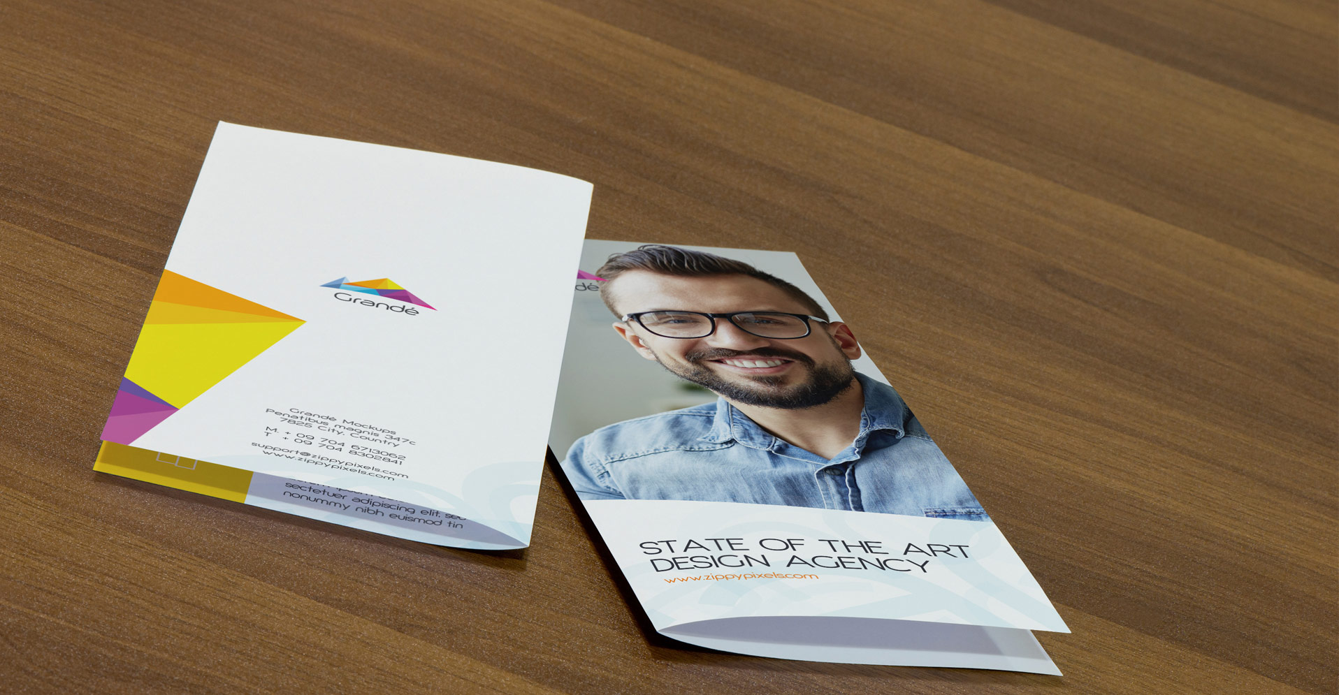 3, 2 and Single Fold Flyers and Brochure PSD Mock-ups