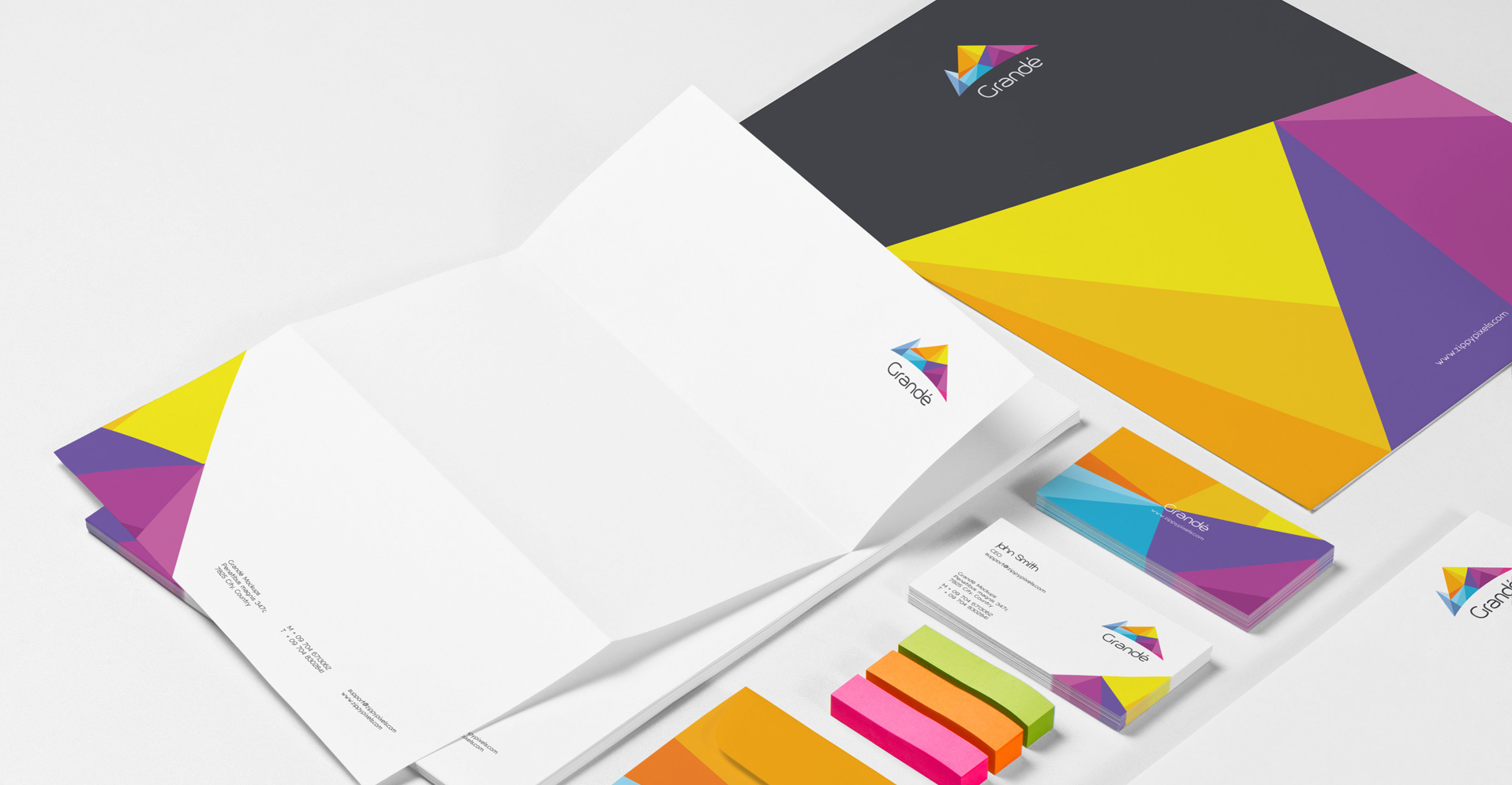 Photorealistic Stationery Branding PSD Mockups, A4 Letterhead, Business Card, Envelop, File Cover, CD Cover etc.