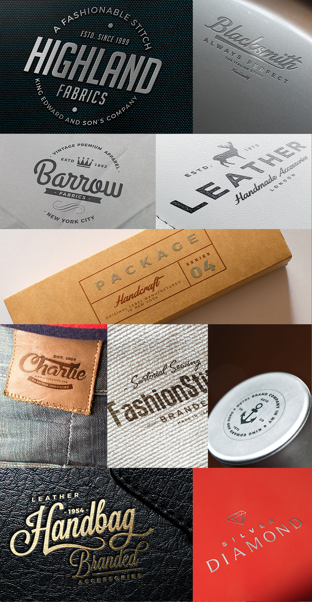 Logo Mockups Bundle - Fabrik, Plastic, Leather, Paper, Jeans, Cap, Bag