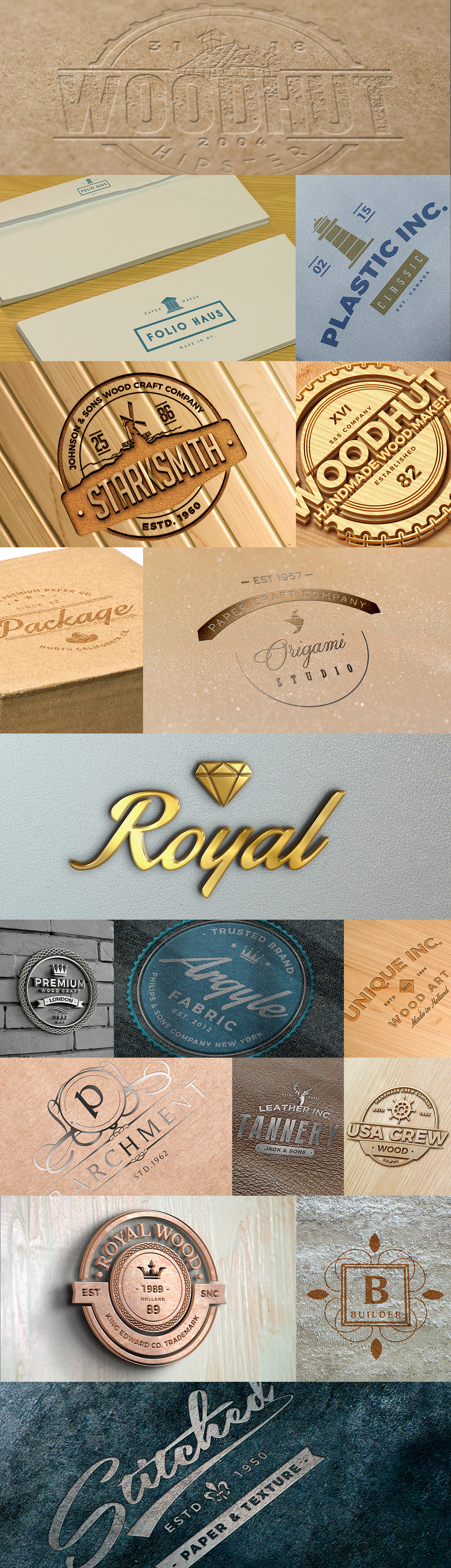 Logo Mockups with Carved, Engraved, Embossed, Silver and Gold effects on wooden and brick walls