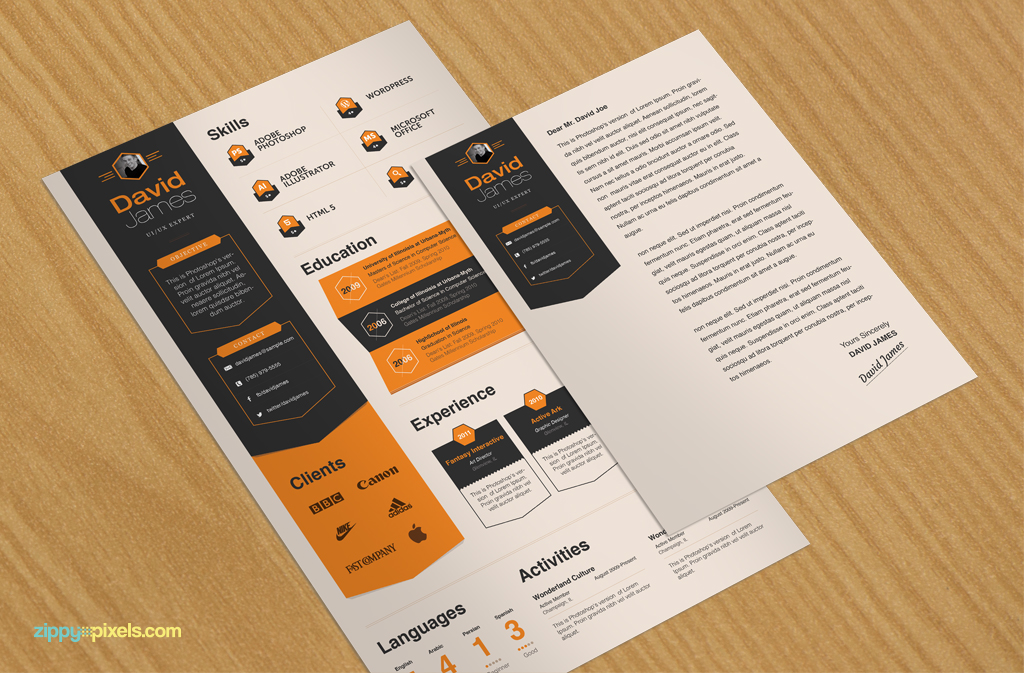 Infographic Resume  Cover Letter  Creative Psd Resume Templates