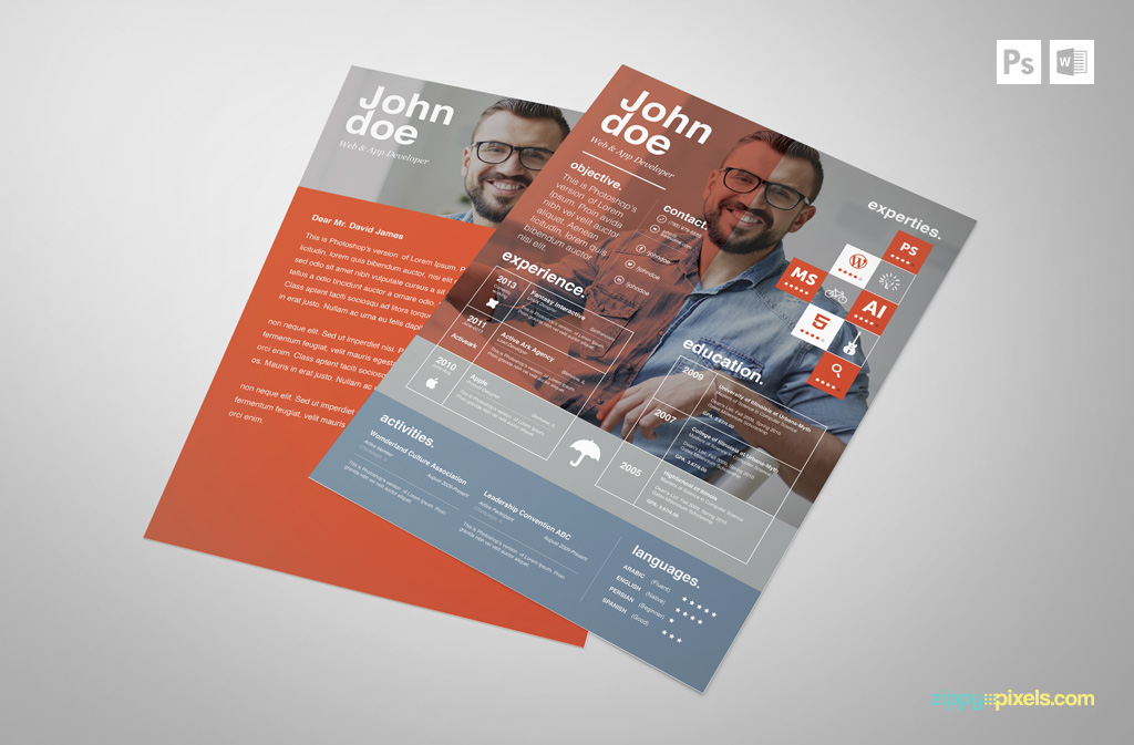 free creative psd resume template premium ms word resume cover letter template in 3 colors - How To Use Resume Template In Word 2007