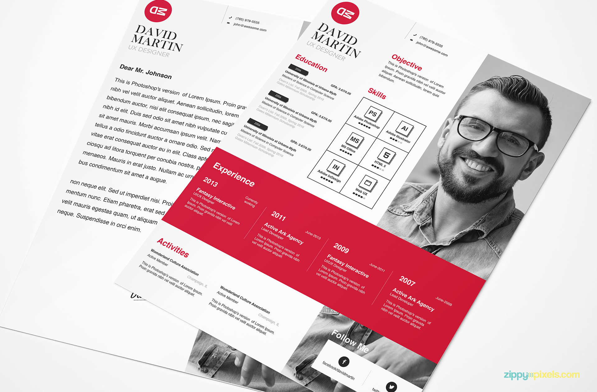 Clean & Simplistic PSD, InDesign & MS Word Resume & Cover