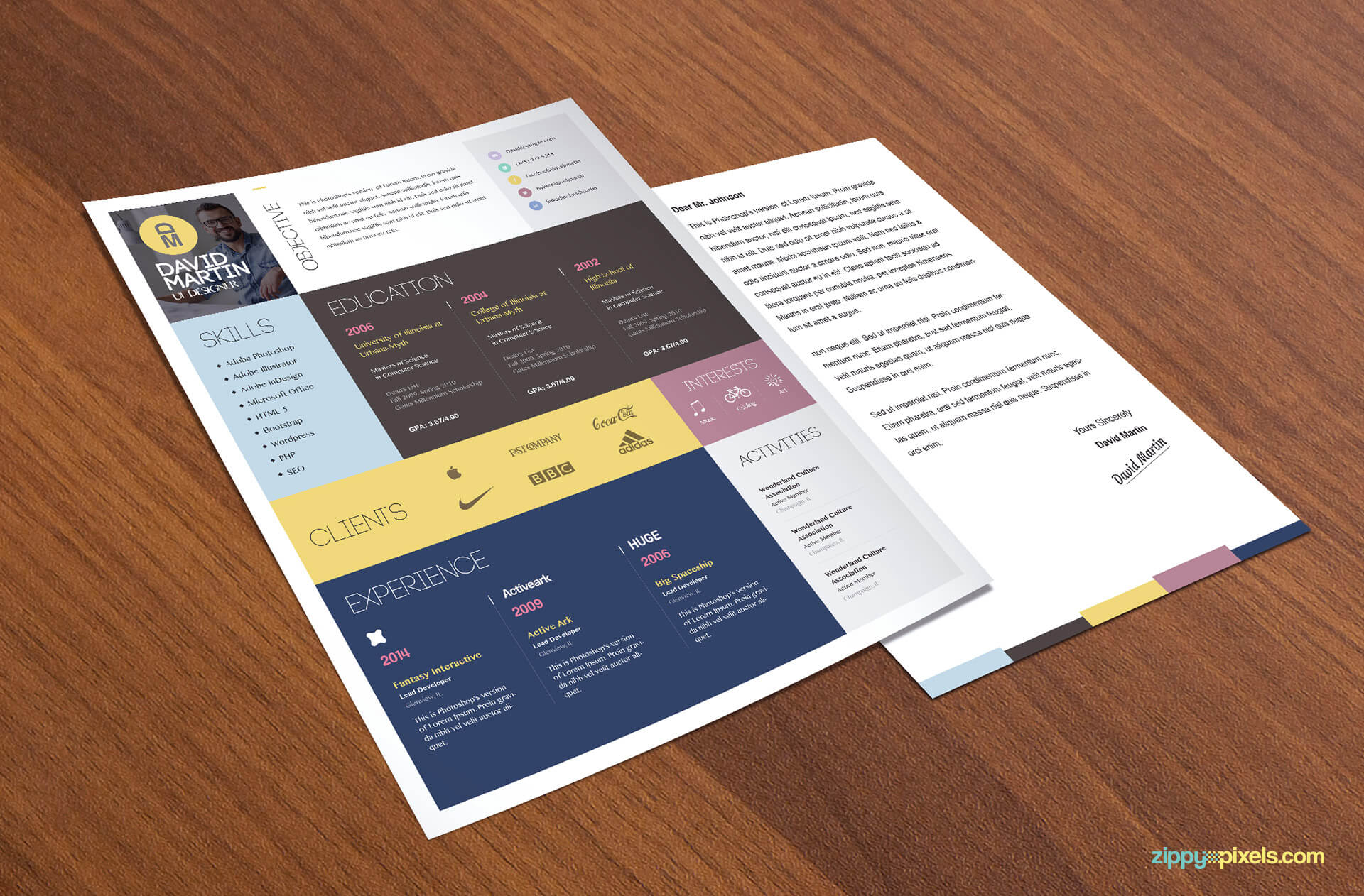 Simple & Colorful Resume Template with Cover Letter
