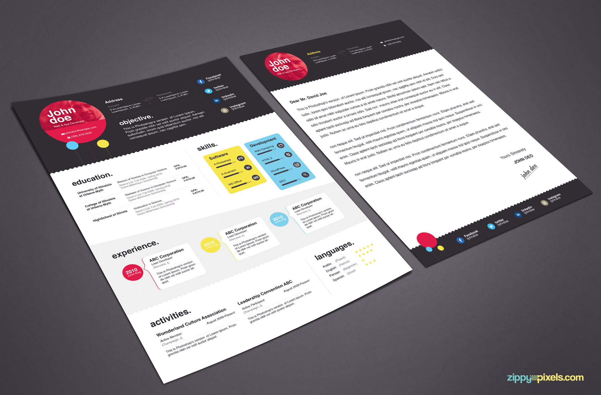 Download Elegant Resume Template in MS Word & PSD | ZippyPixels