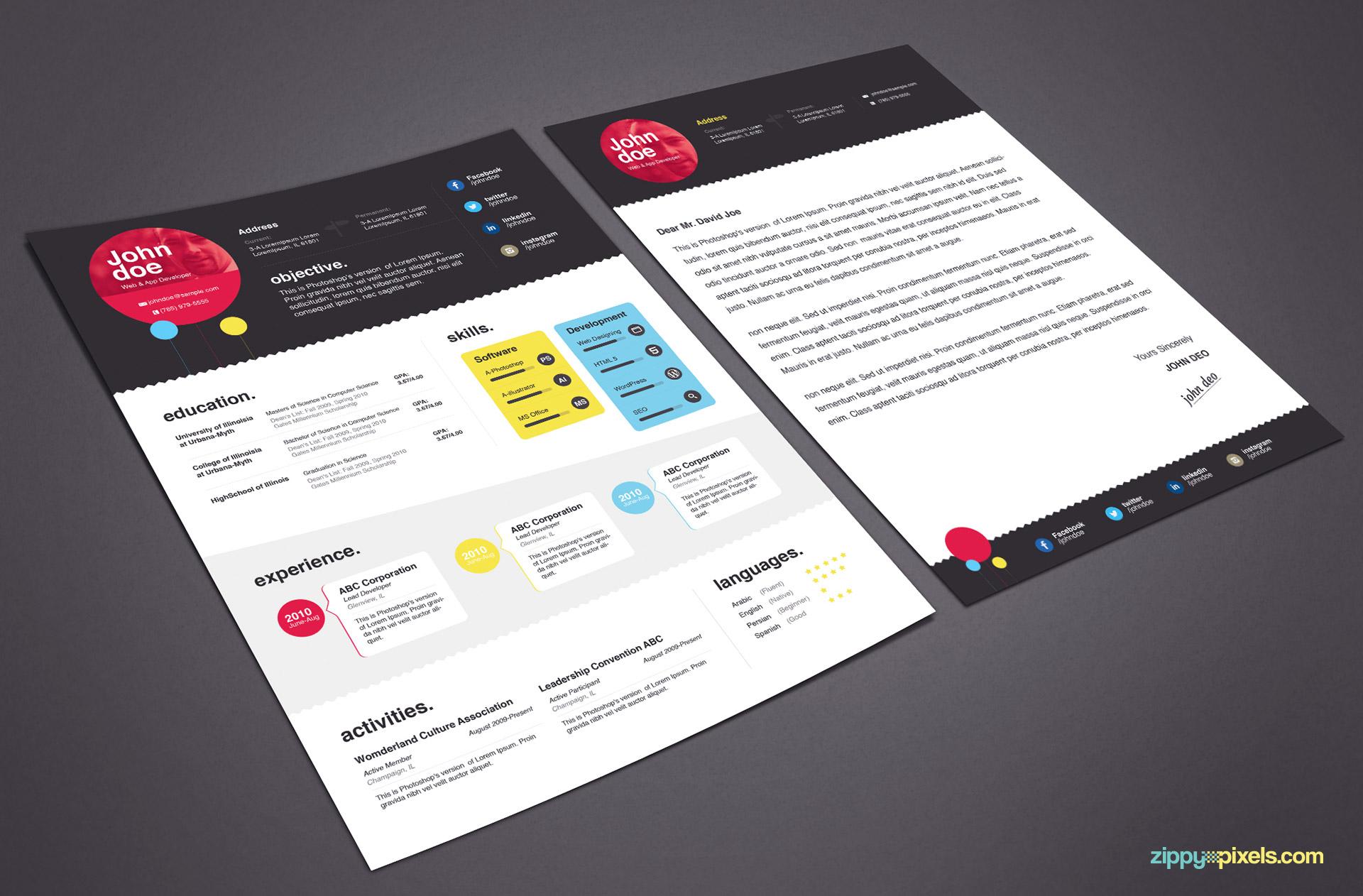 download elegant resume template in ms word psd
