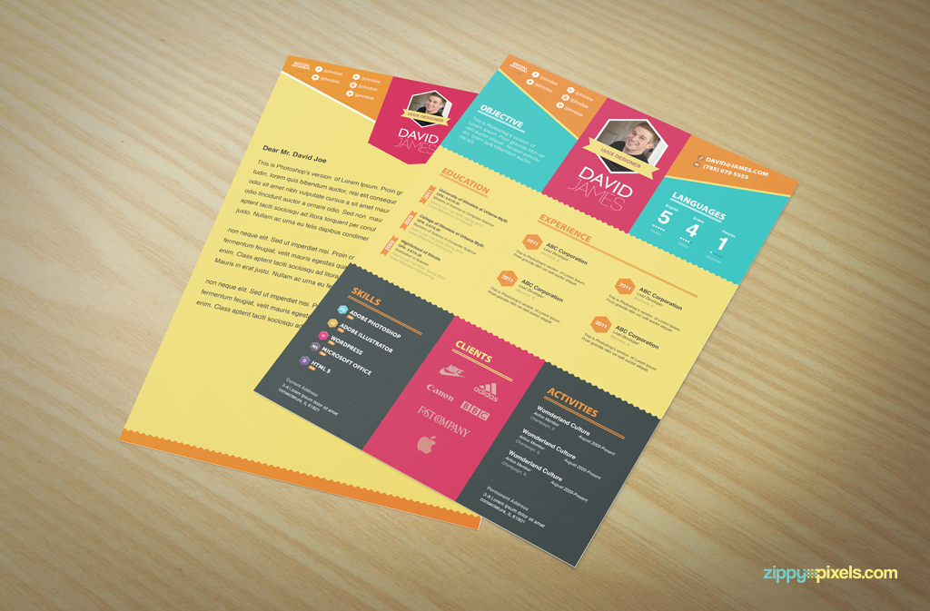 Resume  Cover Letter Template Set  Simple  Colorful Design