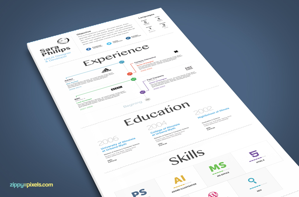 Creative Resume Template With Clean  Minimalistic Design