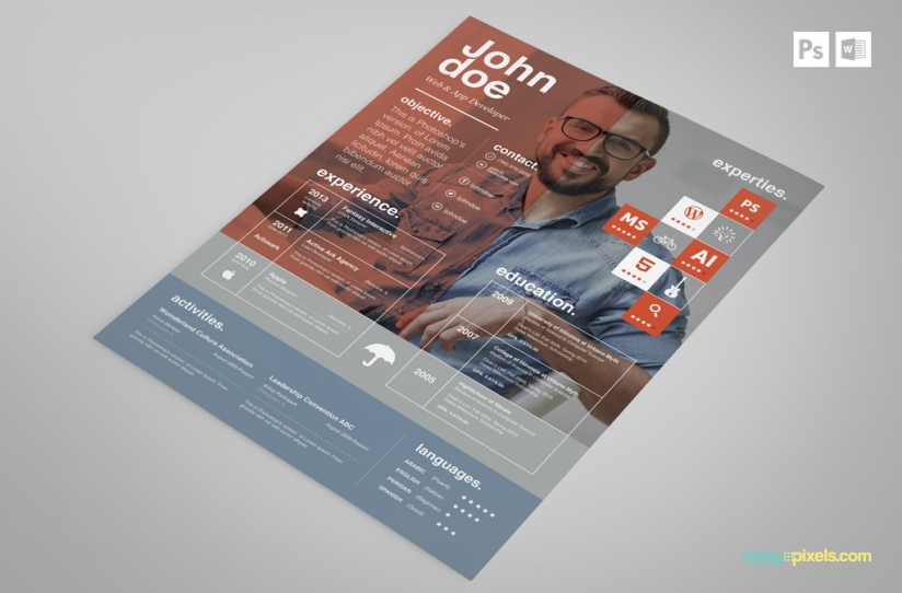 Free Creative Resume Template In Red