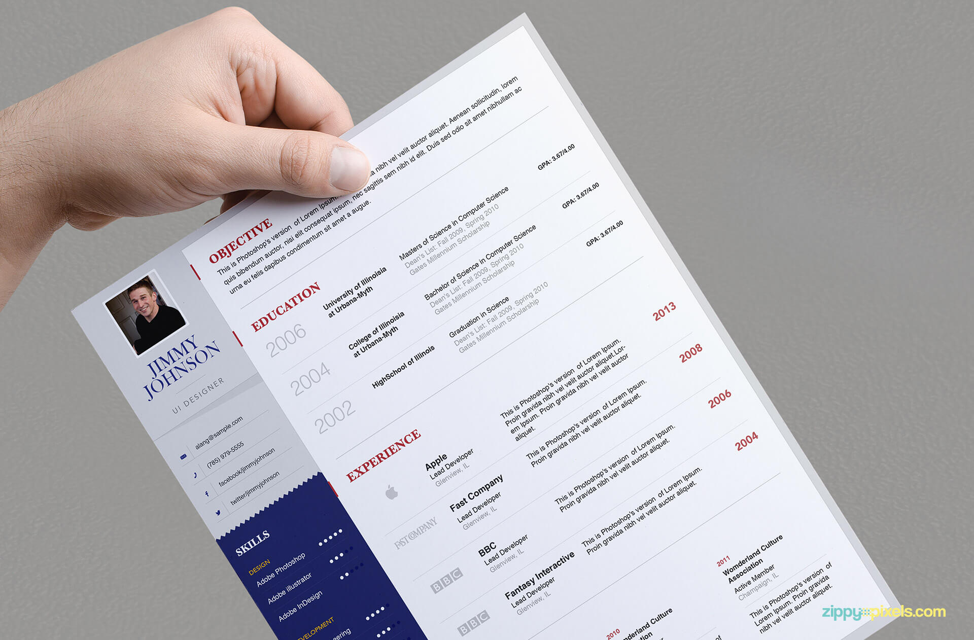 Simplistic Resume Template for Professionals - version 3