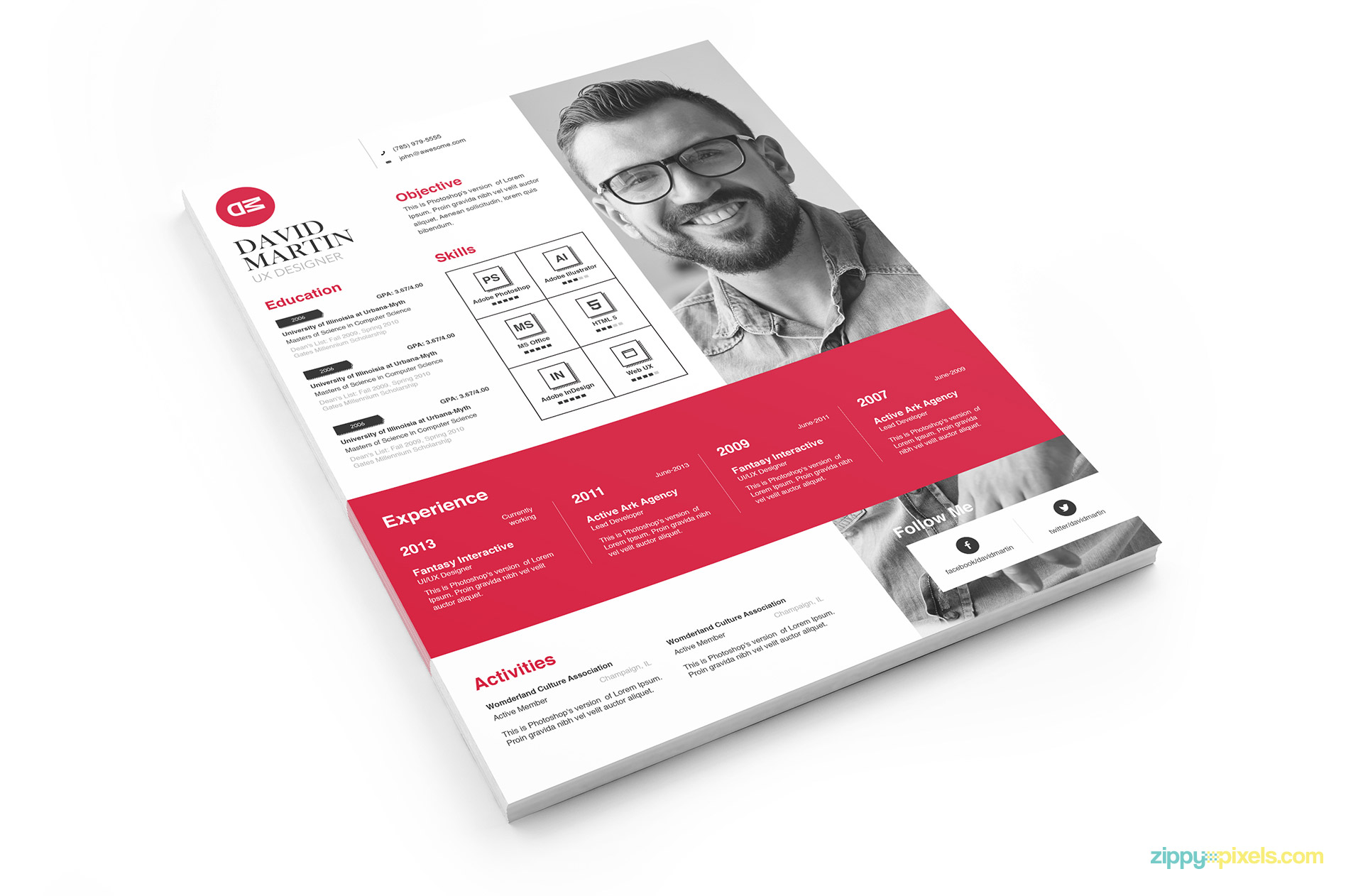 Creative Business Resume Template - Red Version