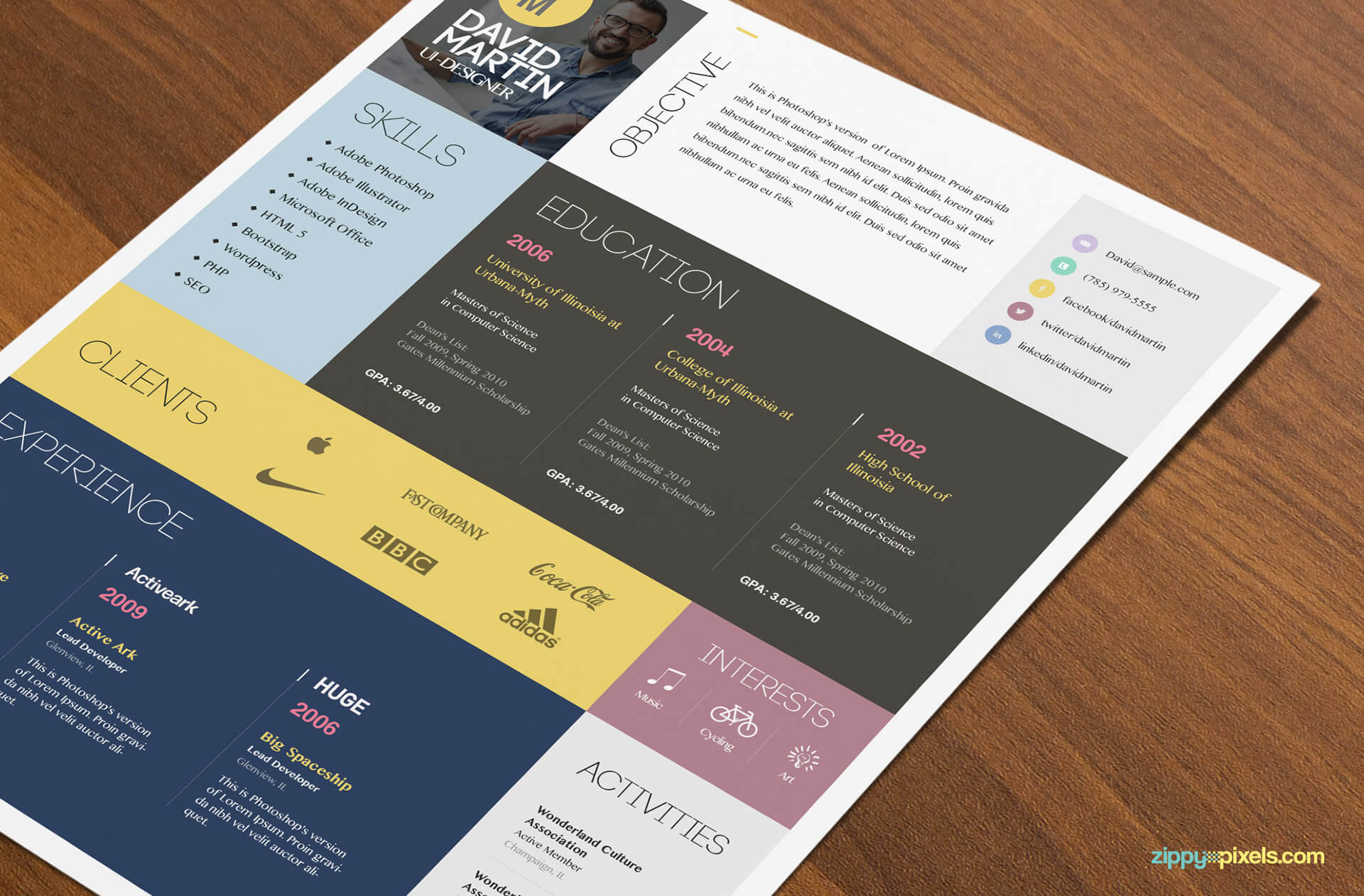 Simple & Colorful Resume Template Color 4