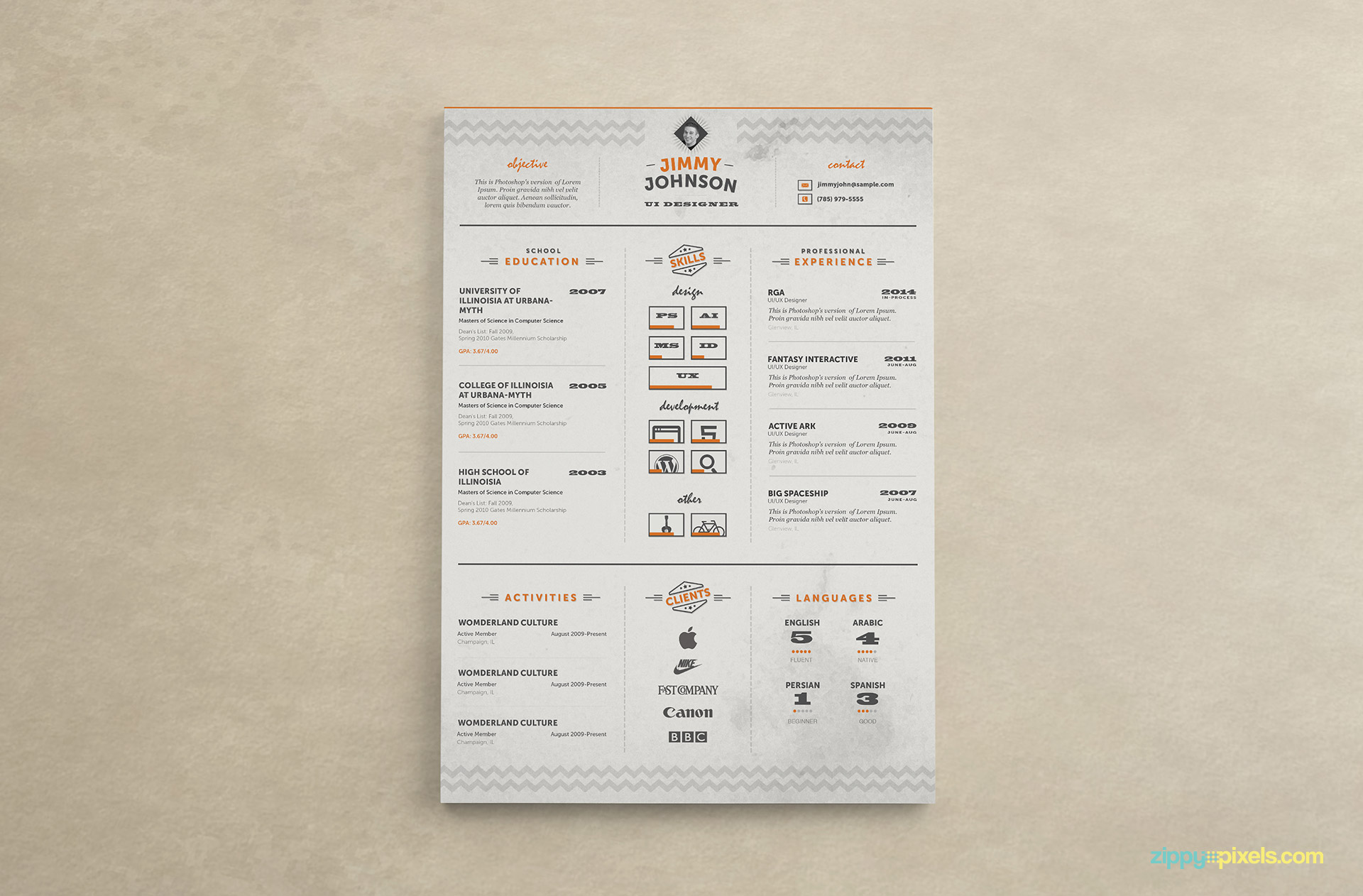 Corporate Resume Template Color 3