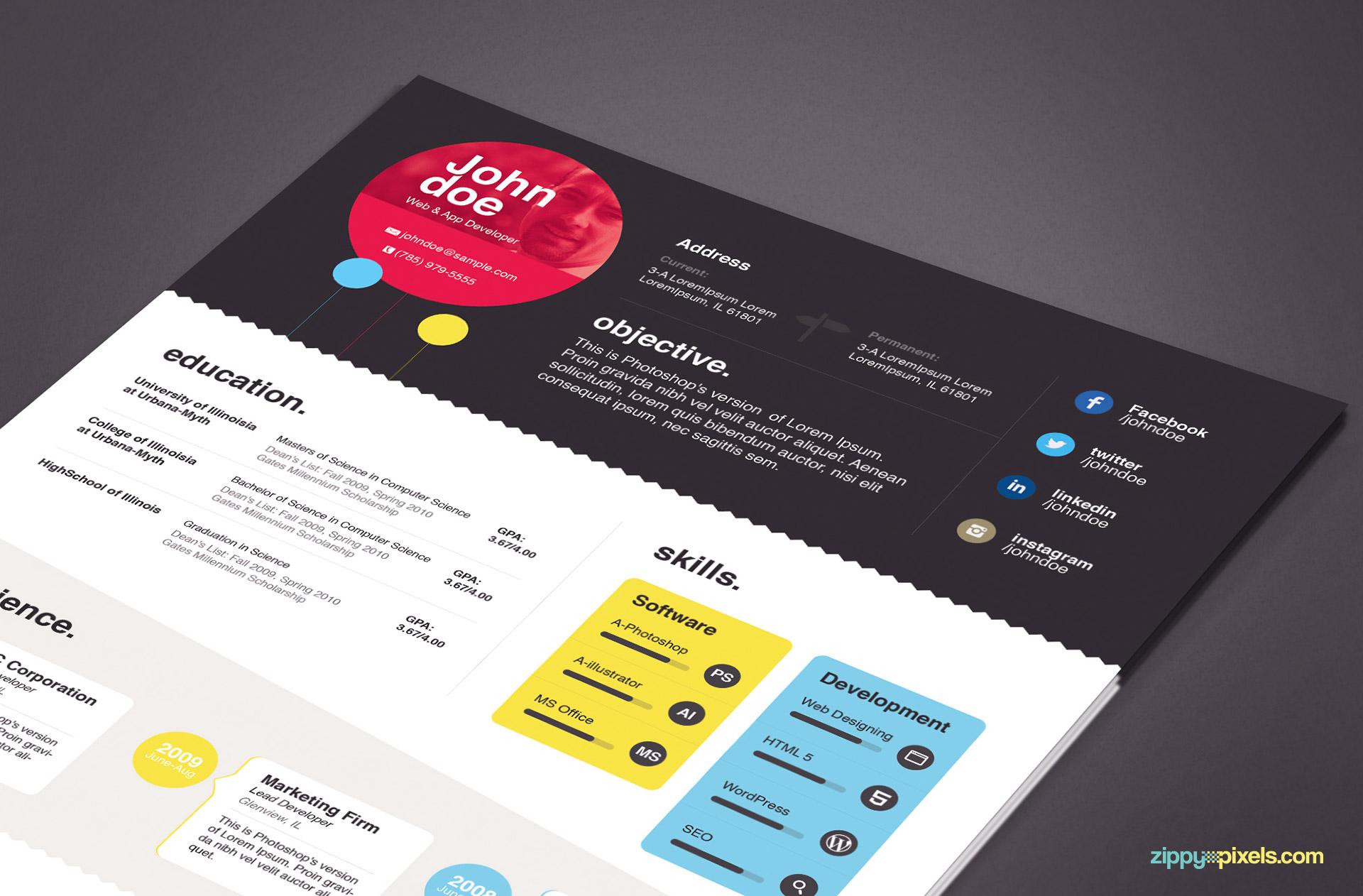 download elegant resume template in ms word  u0026 psd