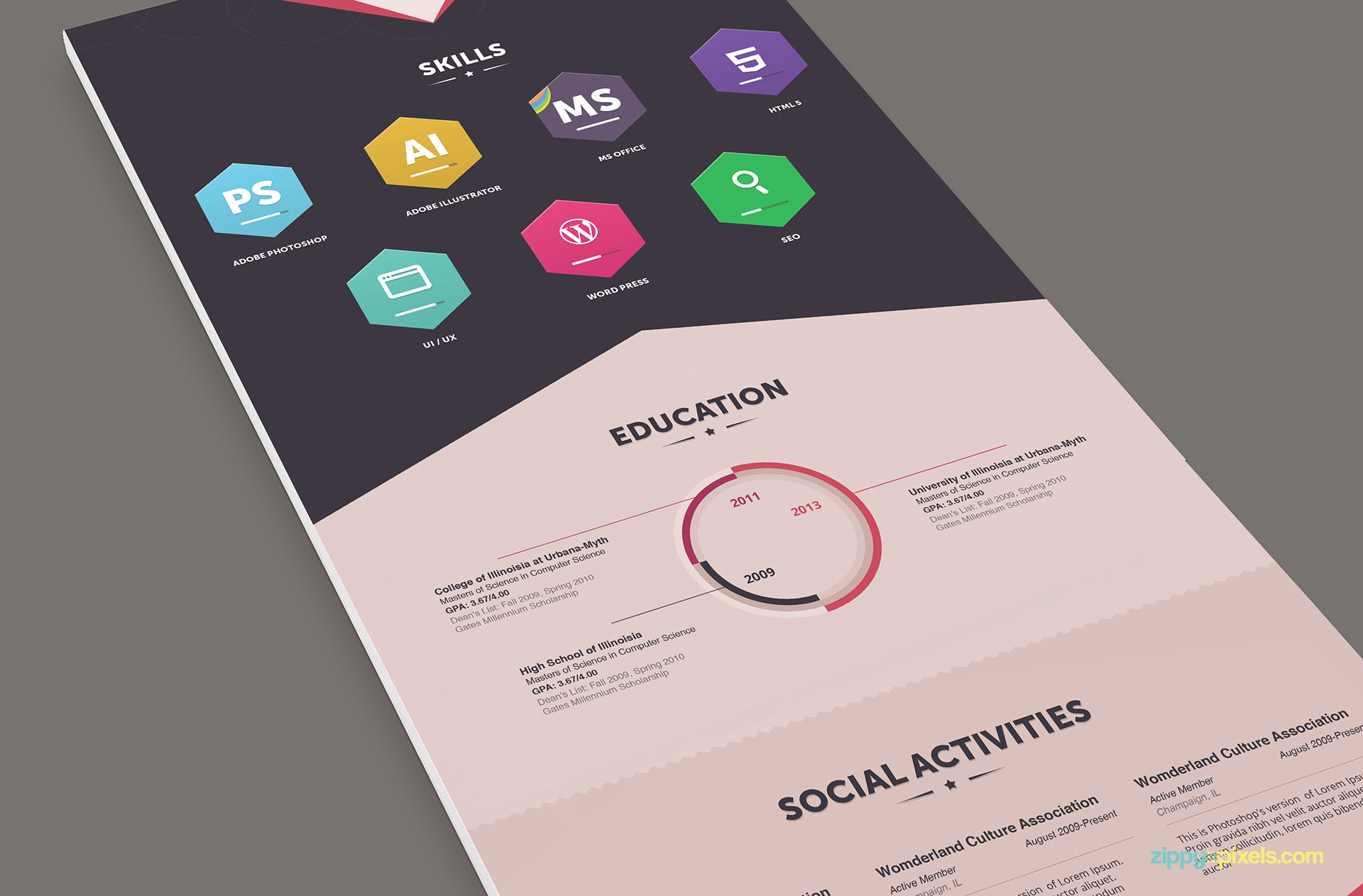 Infographics Resume Template For Designers 3
