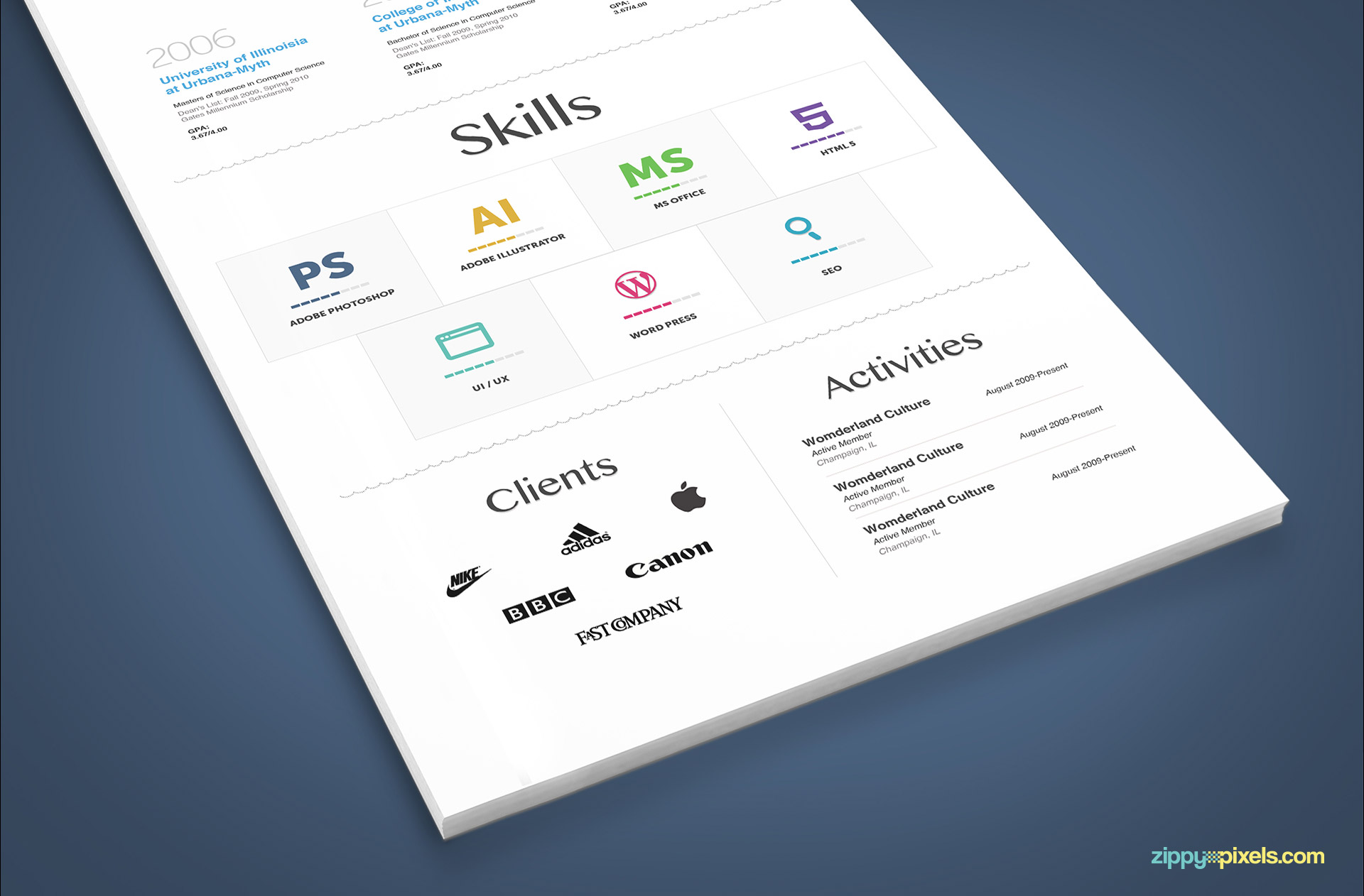 Minimalistic Resume Template in White