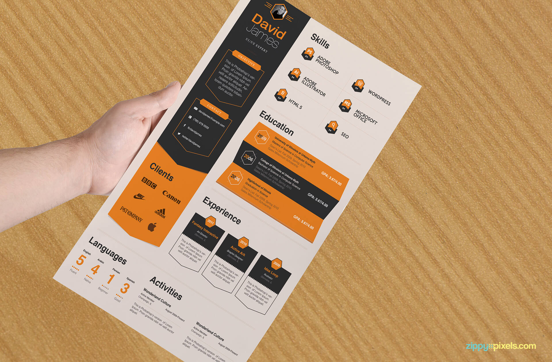 Professional Business Resume Template with Black and Orange Colors
