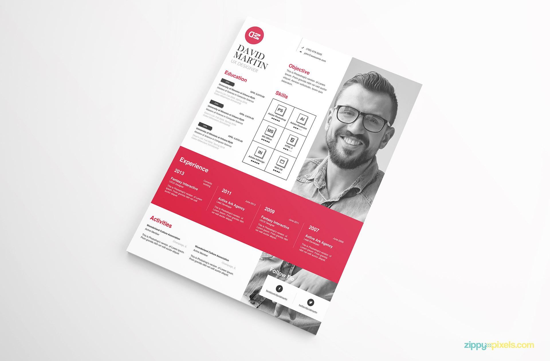 clean  u0026 simplistic psd  indesign  u0026 ms word resume  u0026 cover