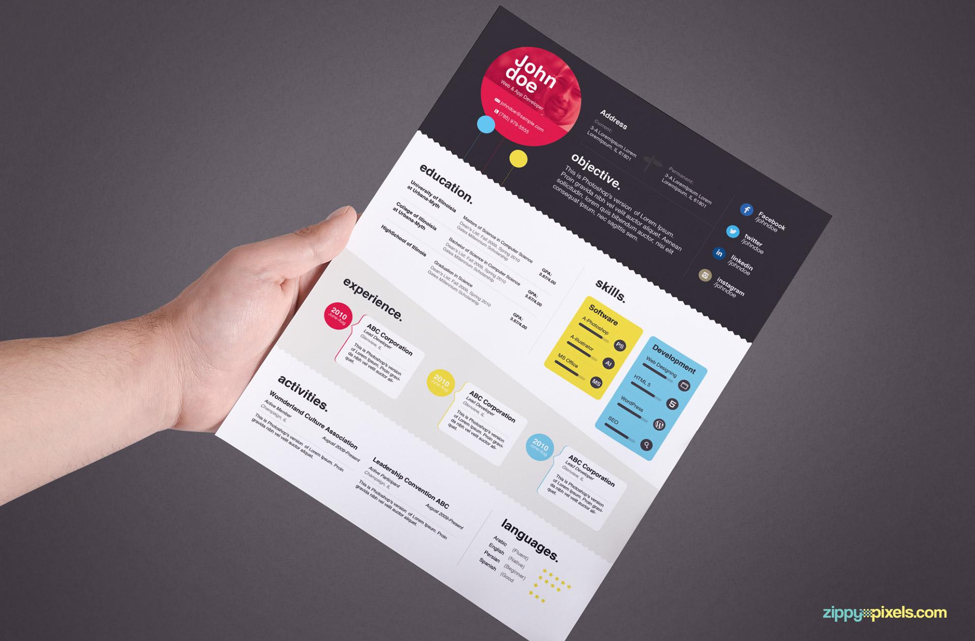 Creative Resume Template Color 4