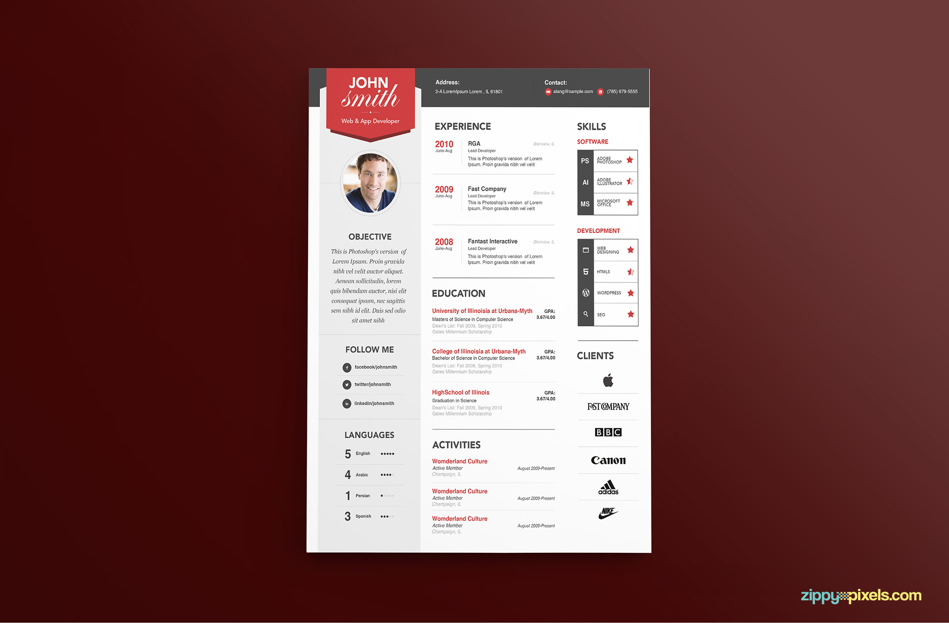 Modern Resume Template Color 3