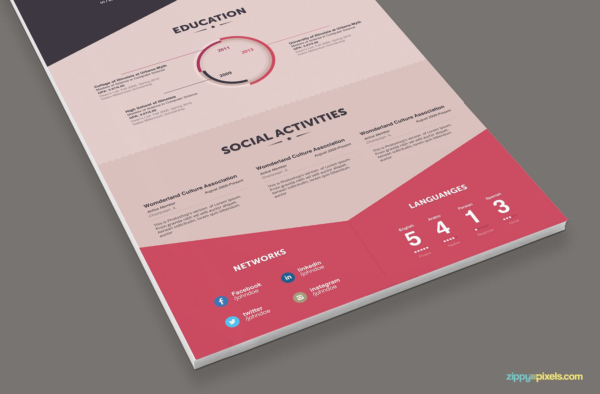 Infographic Resume & Cover Letter - Creative Resume Photoshop Templates