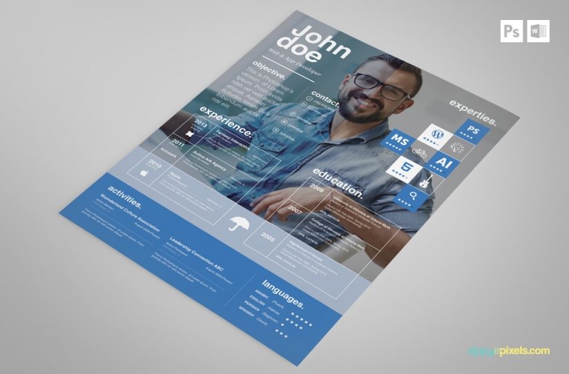 Free creative psd resume template premium ms word resume cover free creative resume template in blue yelopaper Gallery