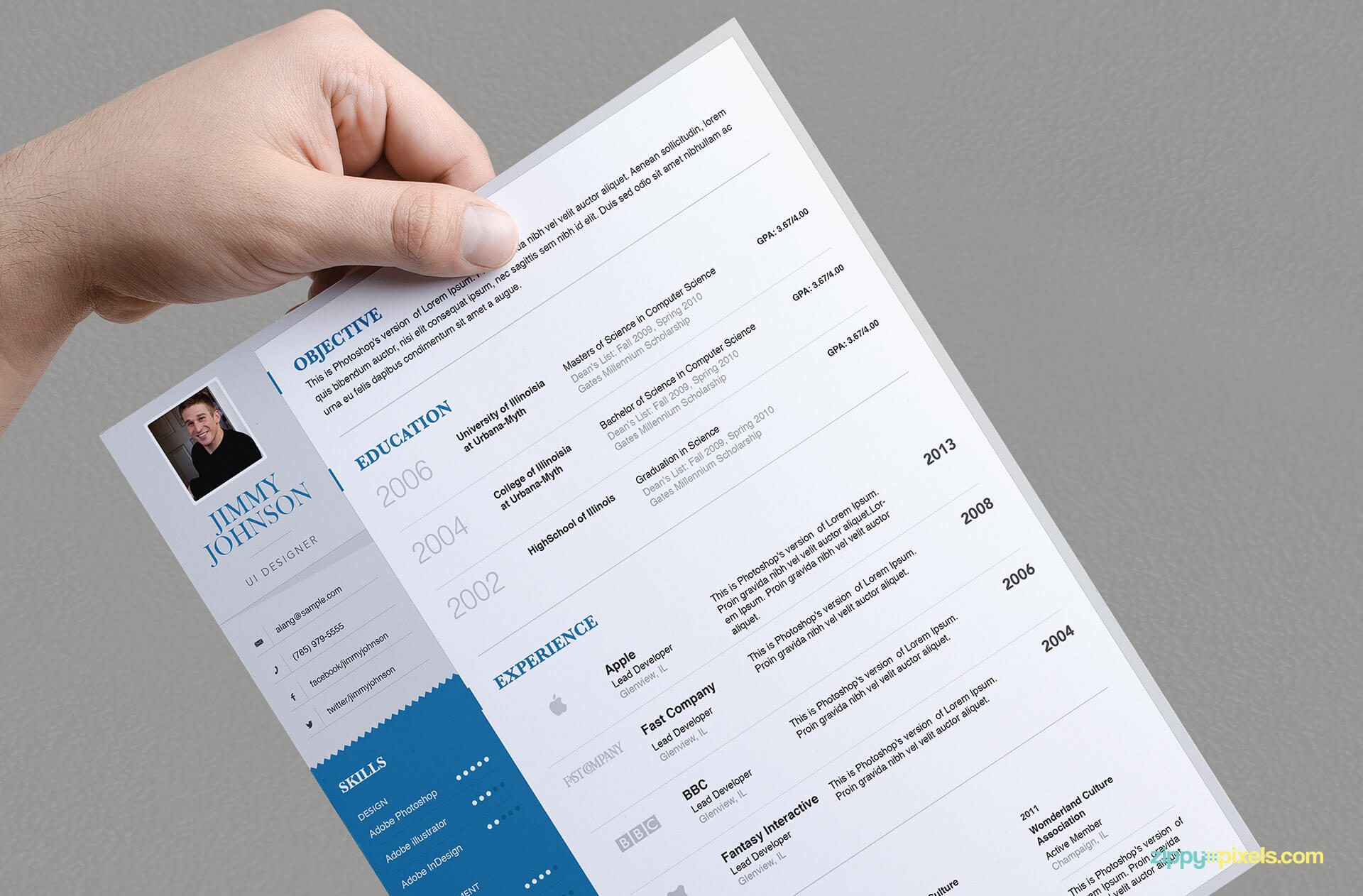Simplistic Resume Template for Professionals - version 2