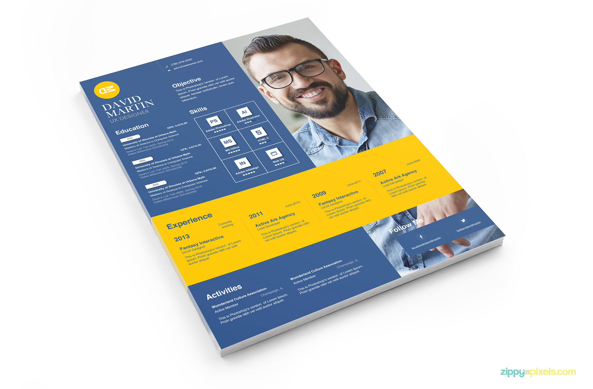 Clean Amp Simplistic PSD InDesign Amp MS Word Resume Amp Cover