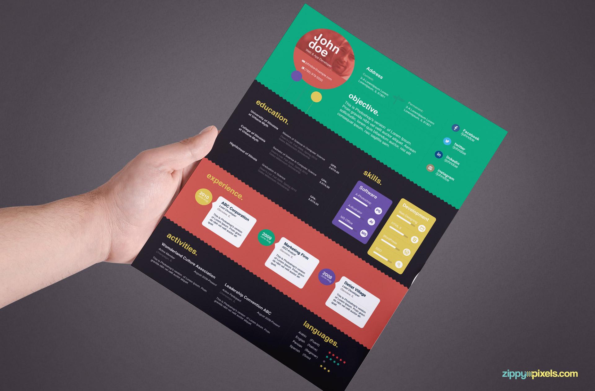 Creative Resume Template Color 3