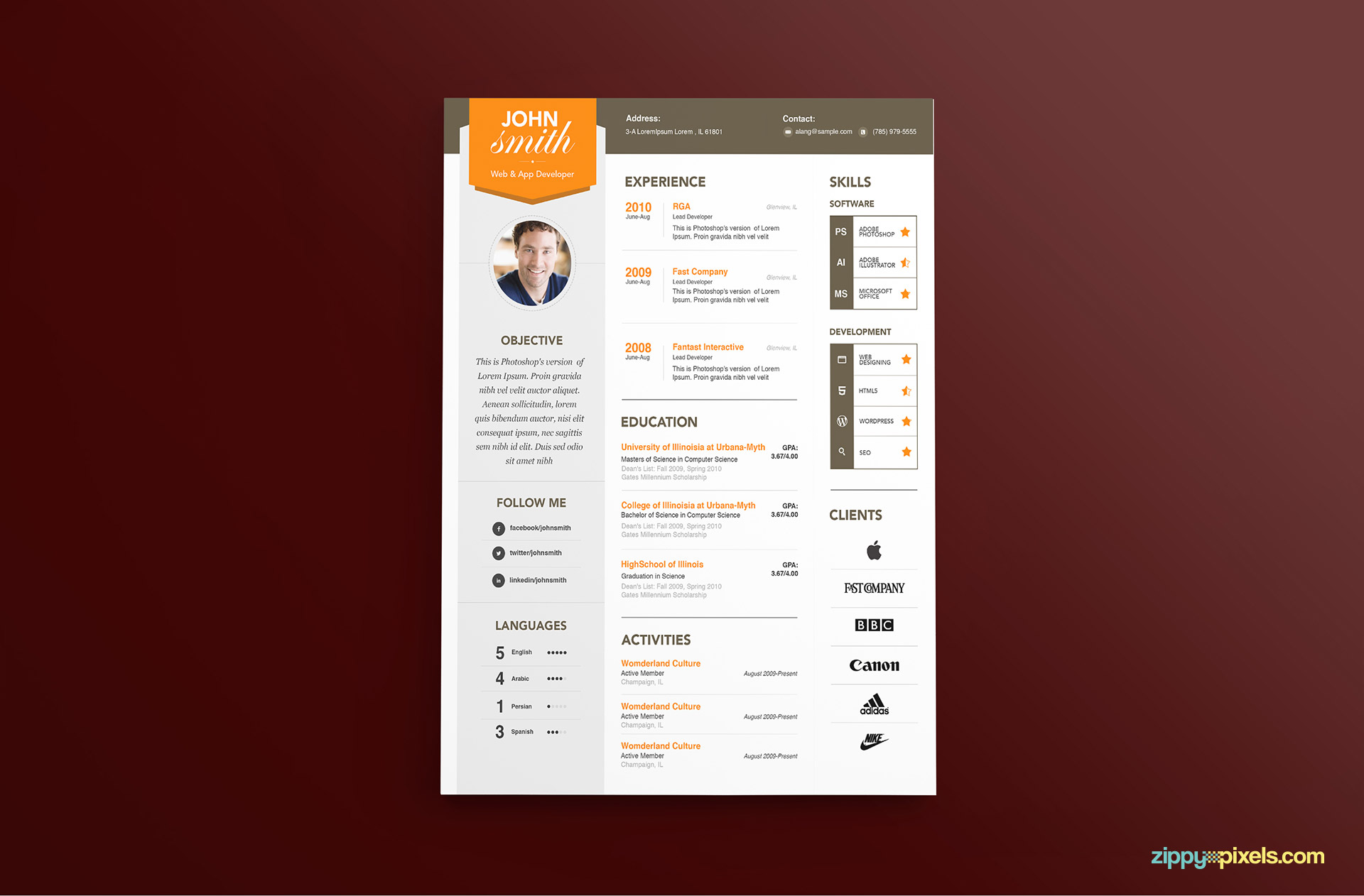 Modern Resume Template Color 2