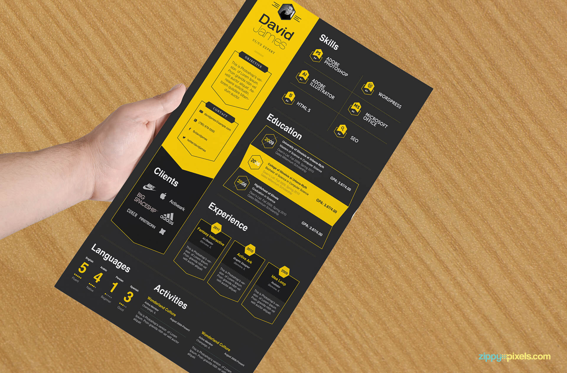 Business Professional Resume Template, Black and Yellow color version