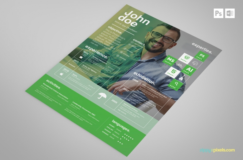 Free creative psd resume template premium ms word resume cover free creative resume template in green yelopaper Image collections