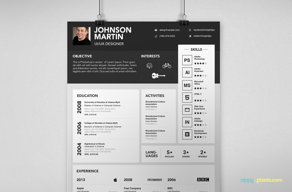 the striking bar across the top sets the standard as a creative and almost interactive resume the eye never gets bored with this resume - Interactive Resume