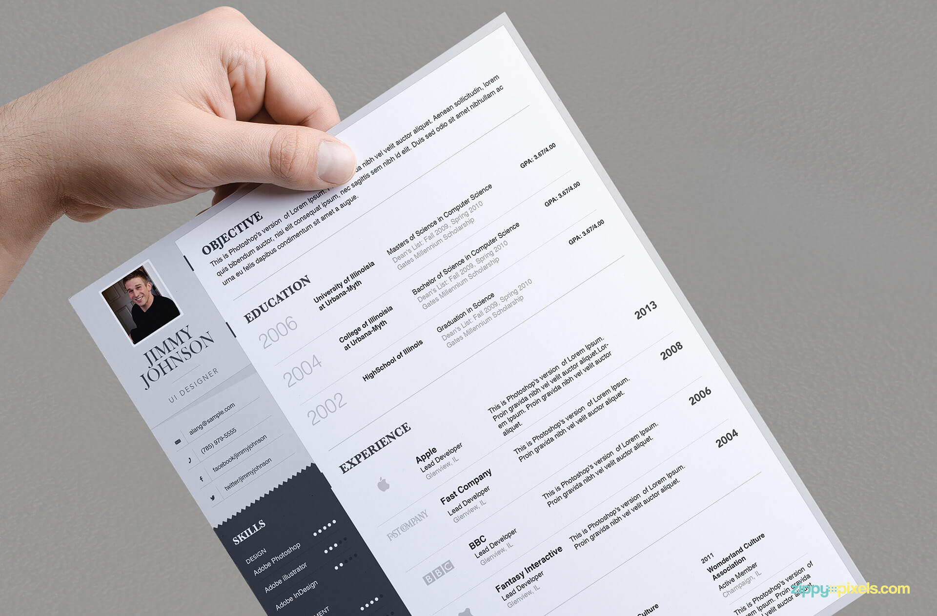 Simplistic Resume Template for Professionals - version 1