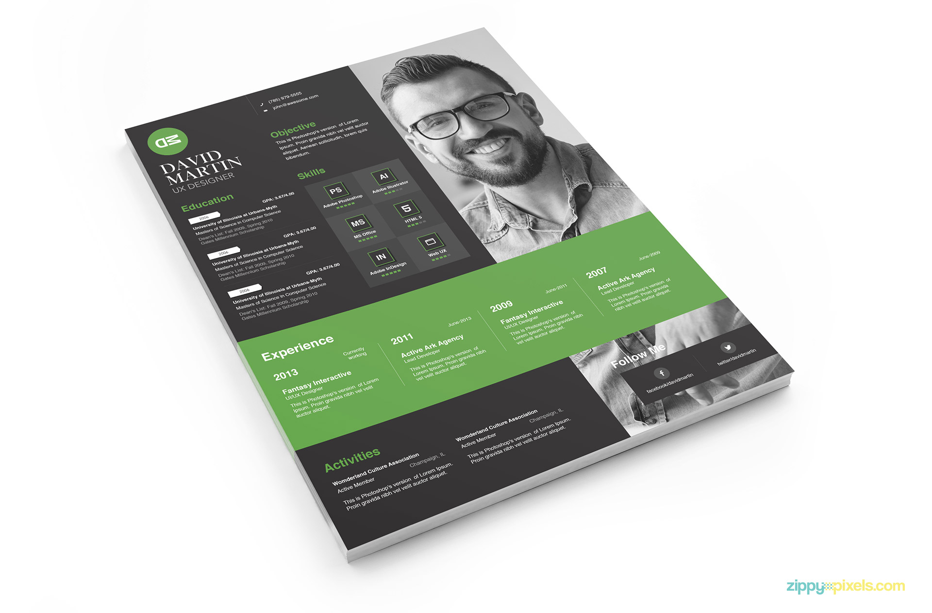 Clean Simplistic Psd Indesign Ms Word Resume Cover Letter