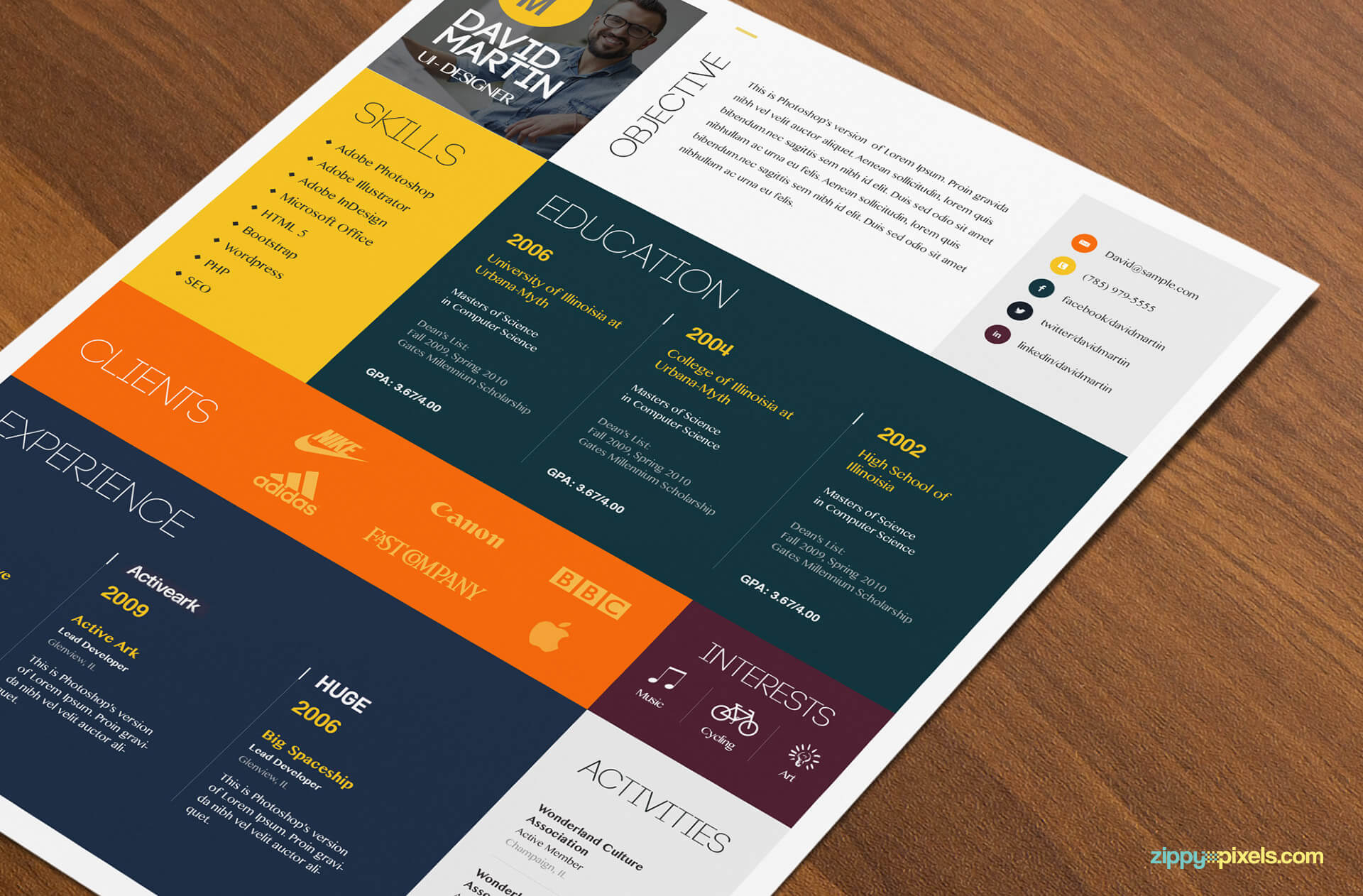 Simple & Colorful Resume Template Color 3