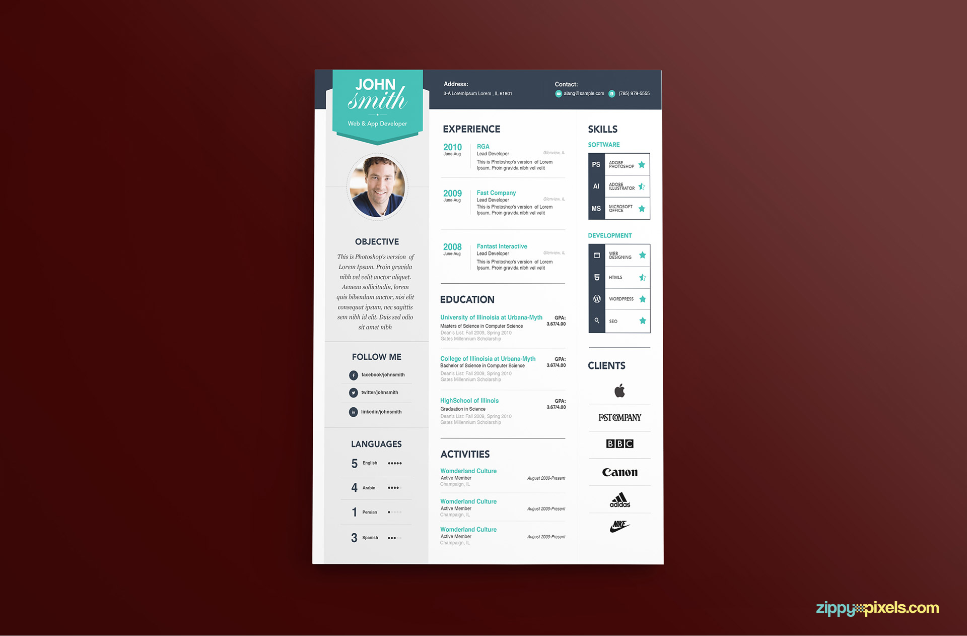Modern Resume Template Color 1