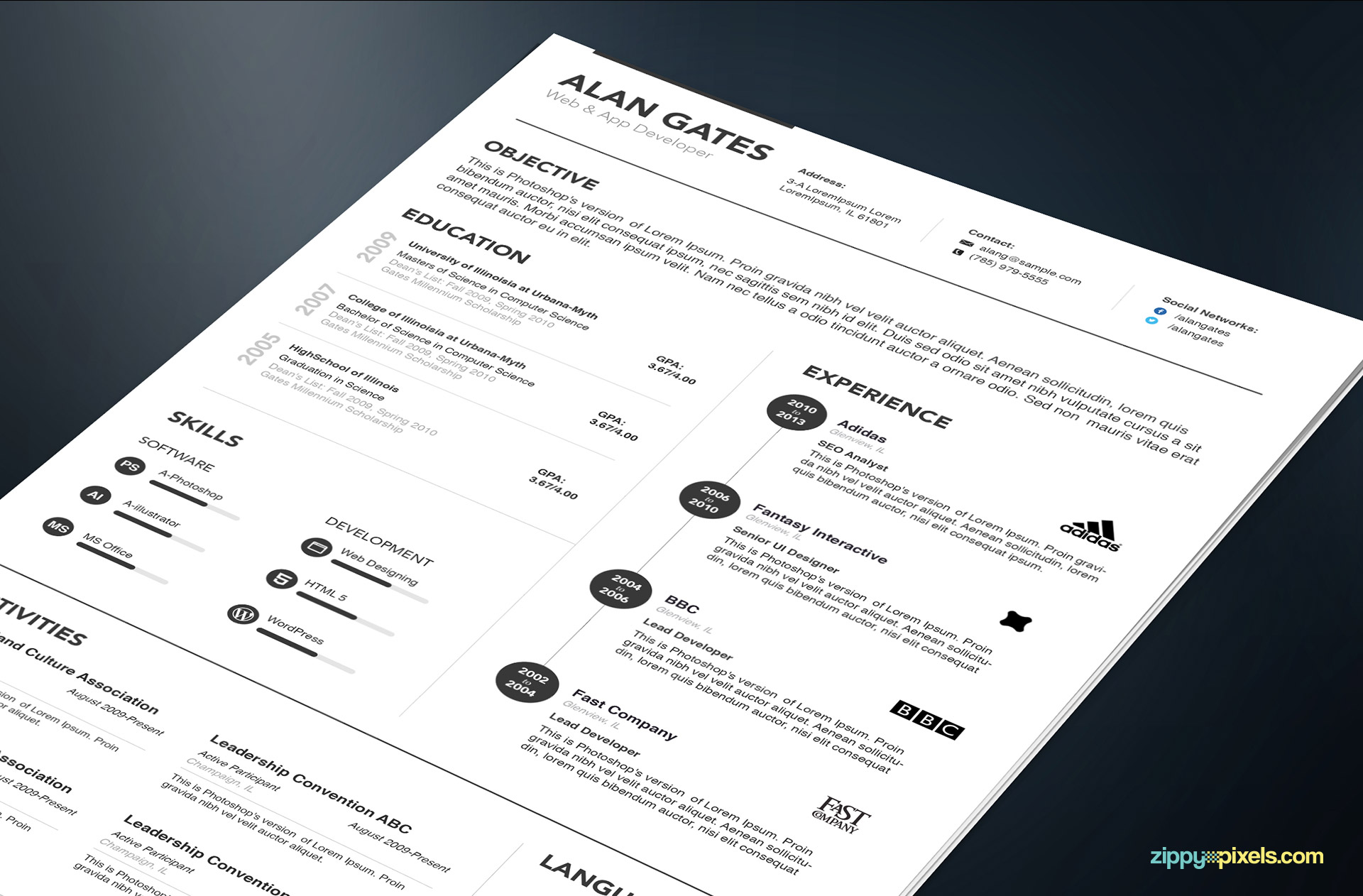 Professional Resume Templates in Simple Style 1