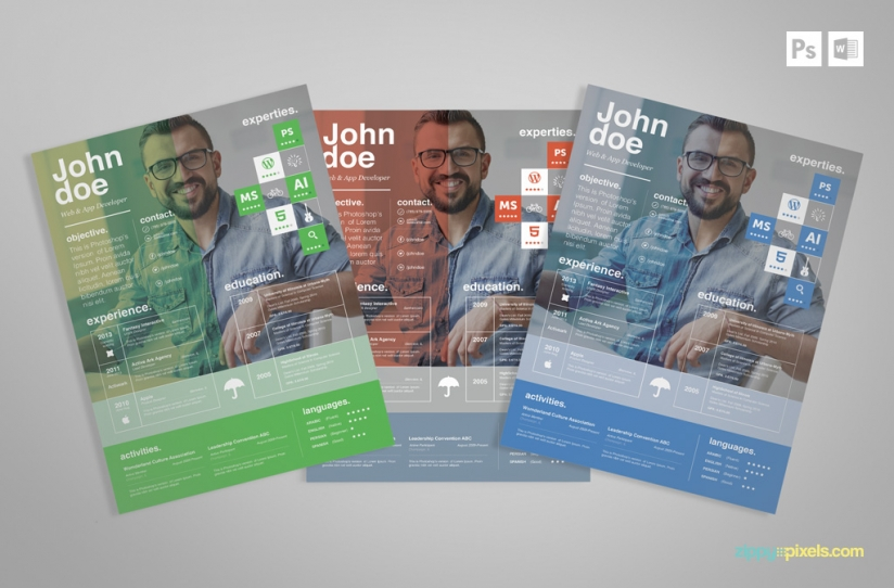 Free Creative Psd Resume Template | Premium Ms Word Resume & Cover