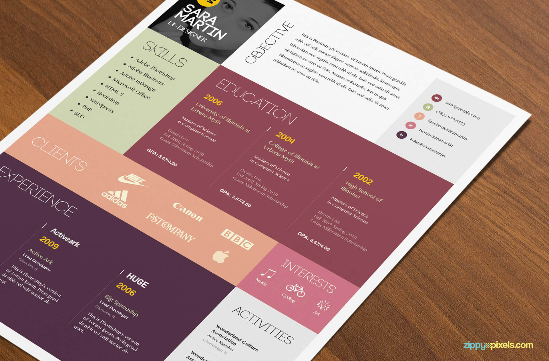 Simple & Colorful Resume Template Color 2