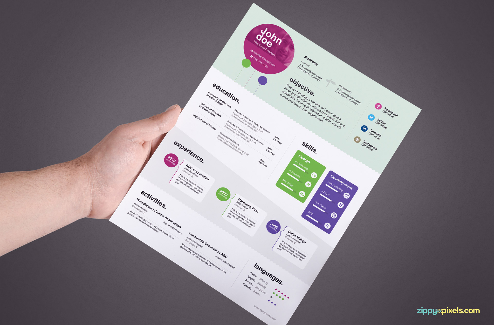 Creative Resume Template Color 1
