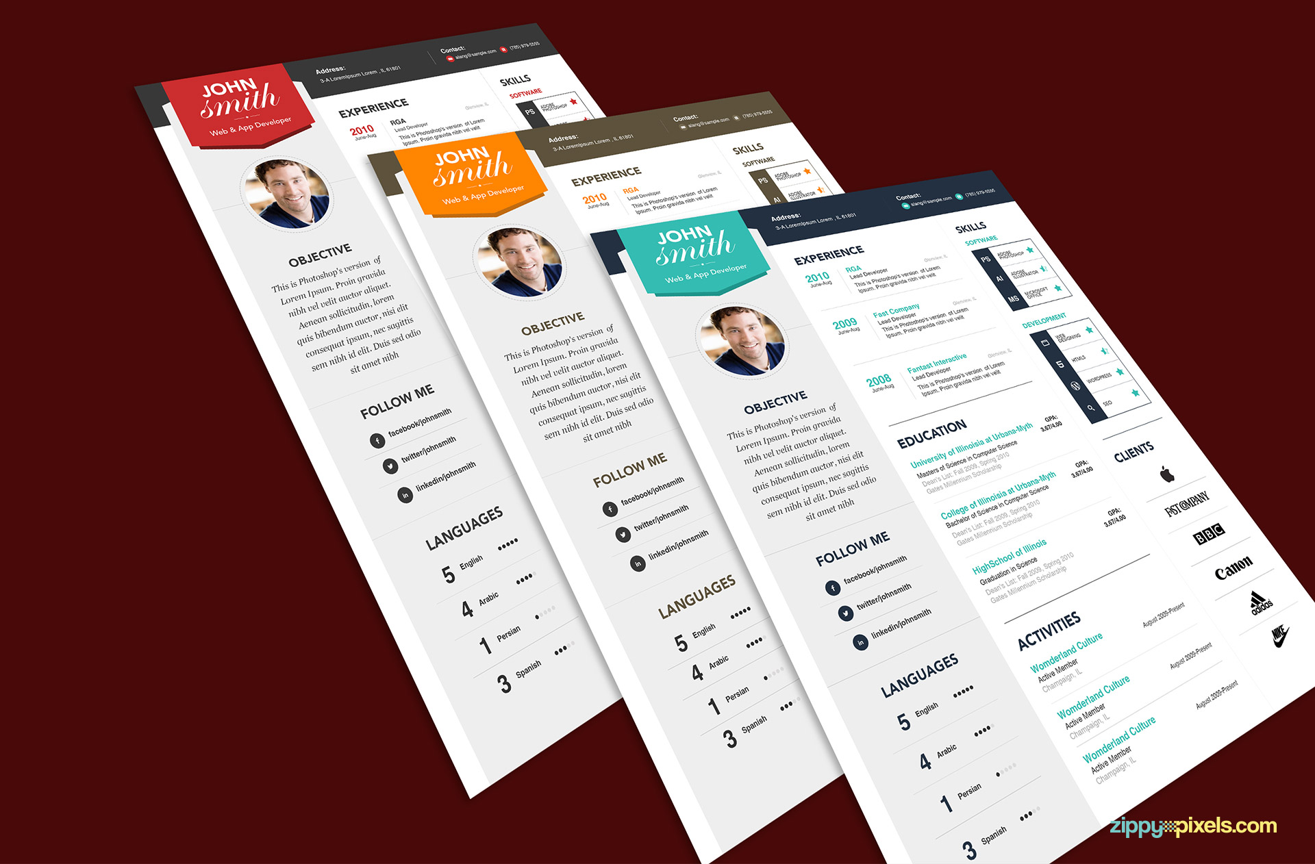 Modern Resume Template Set in 3 Color Versions