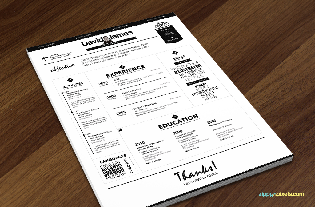 Cv resume template with nice typography Teachers