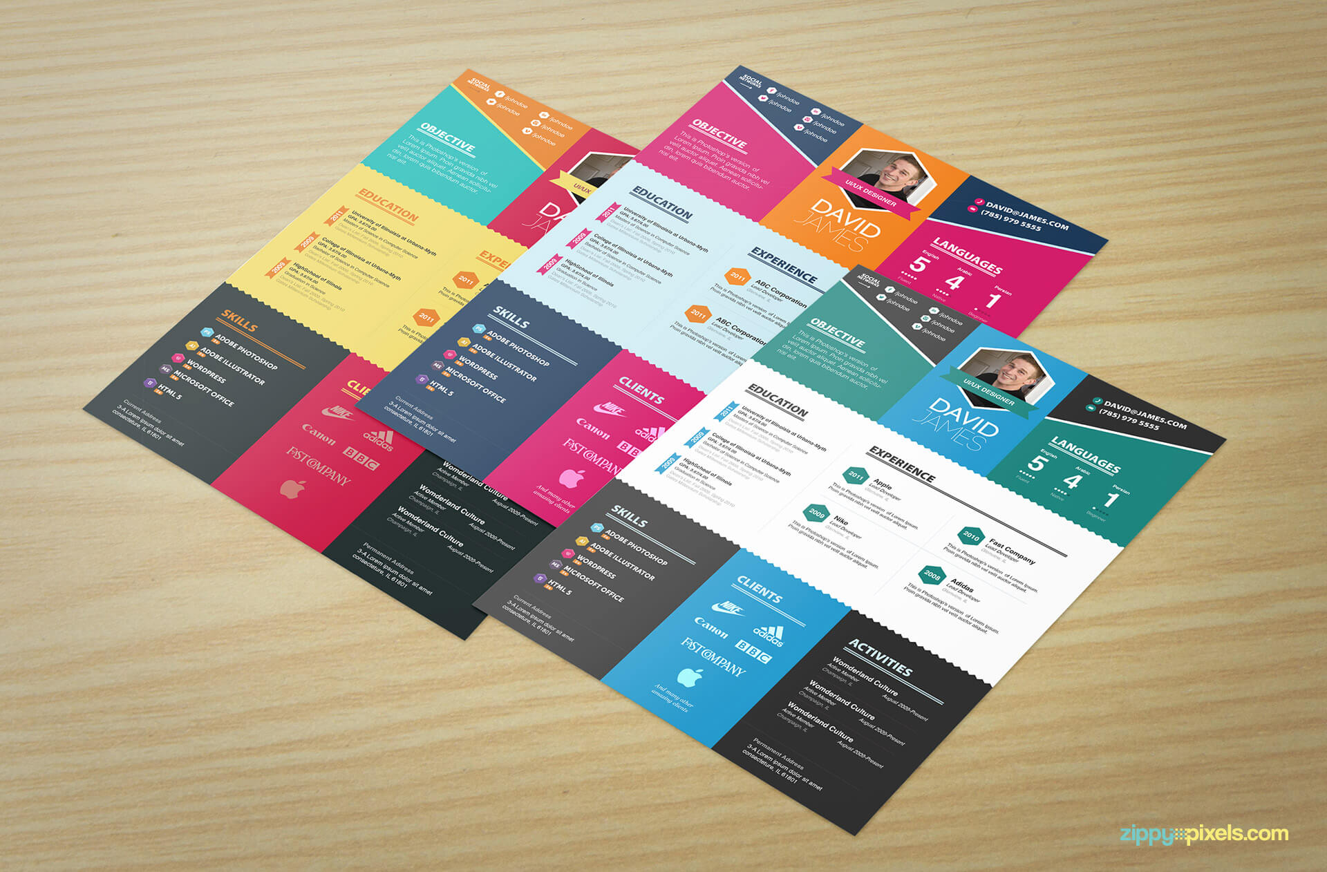 Set of 3 Colorful Creative Resume Templates
