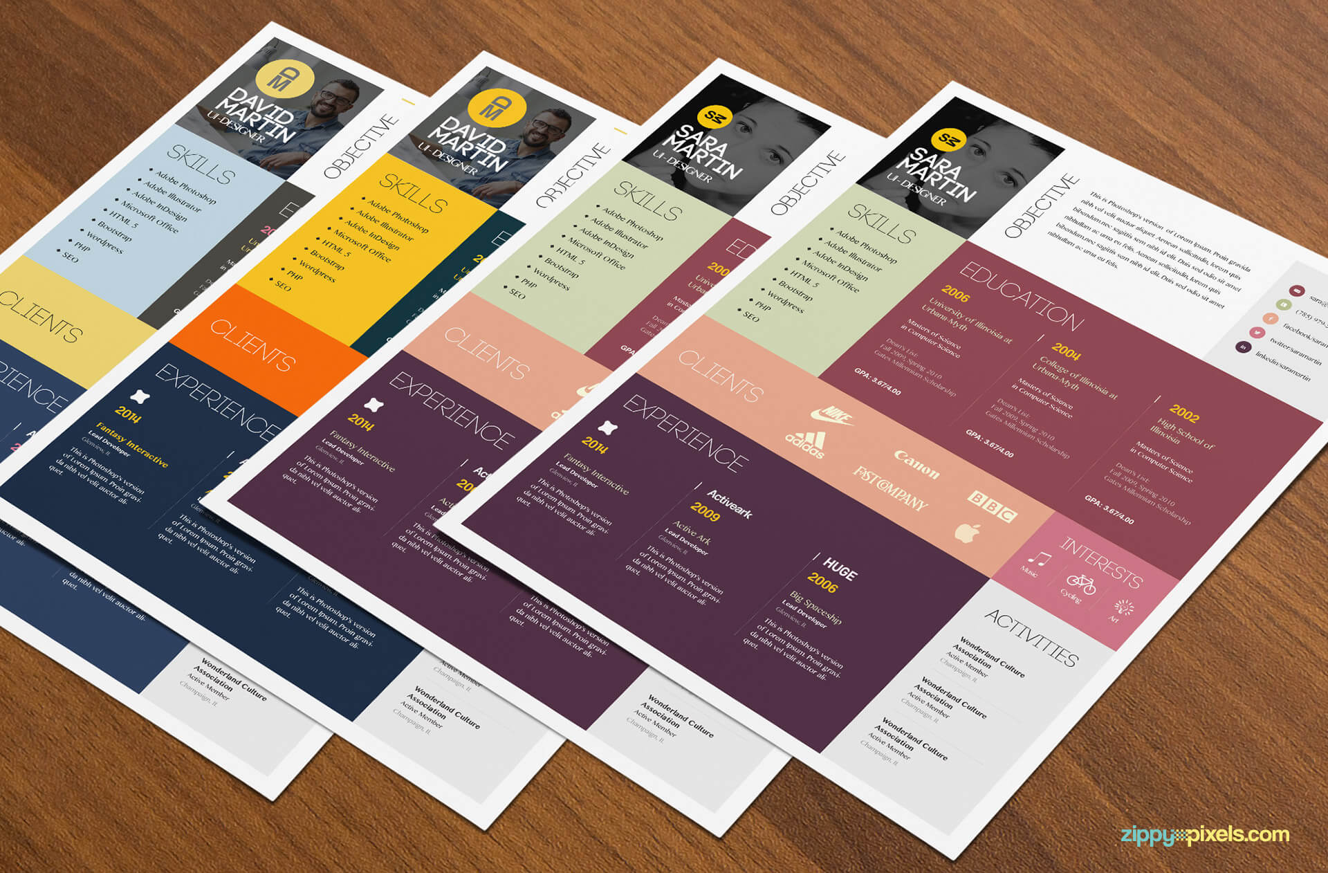4 Simple and Colorful Resume Templates Pack