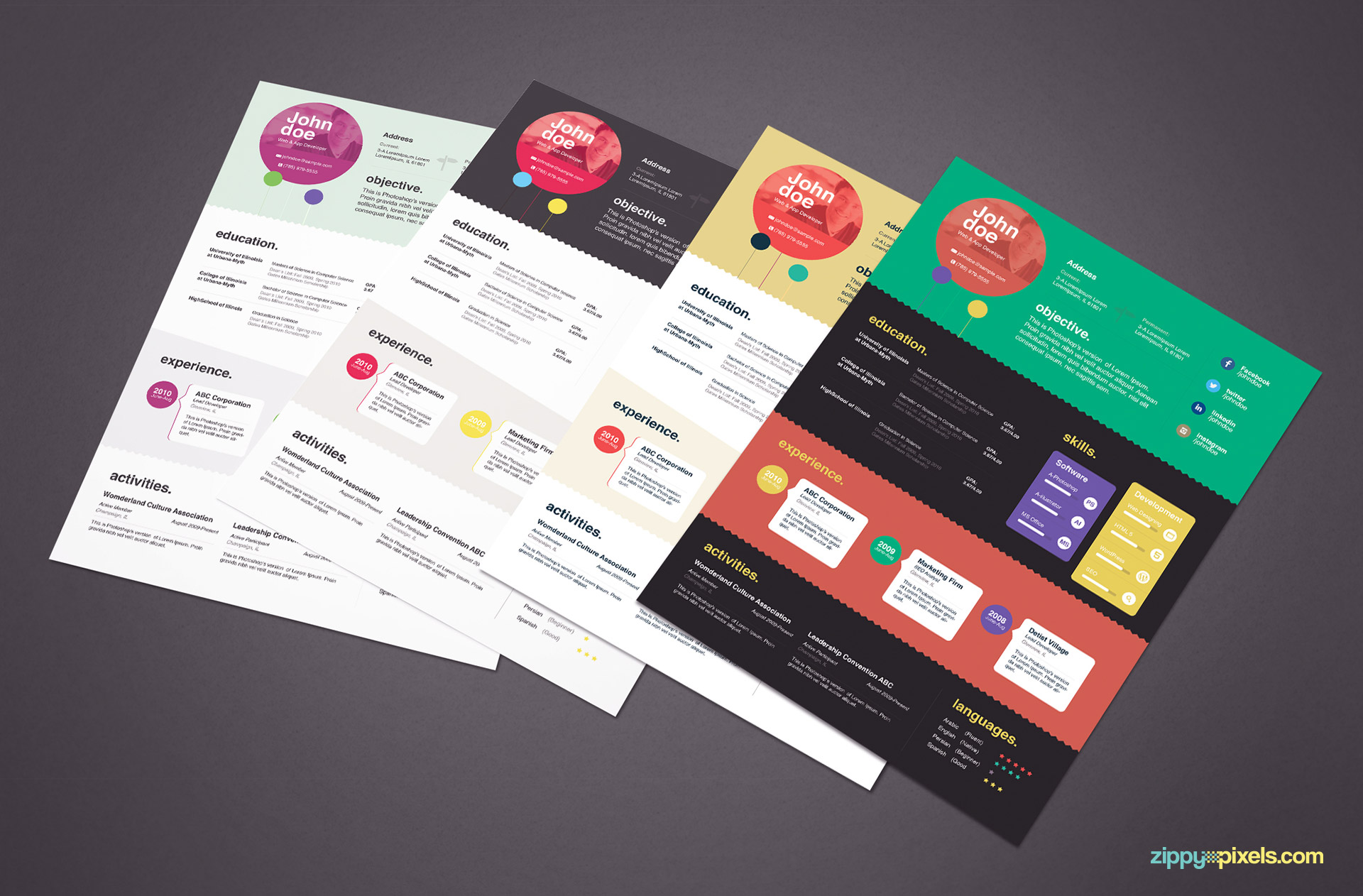 4 Creative Resume Templates