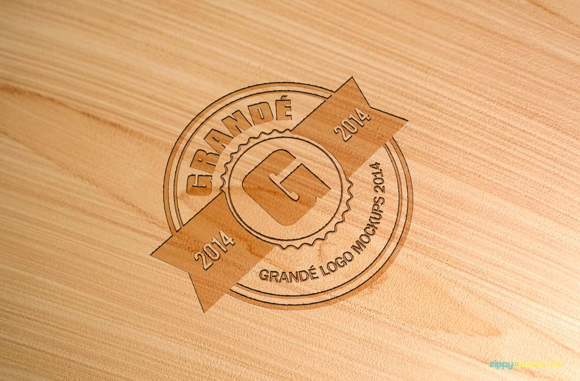 Logo Mockup of Debossed Logo on Beach Wood Surface