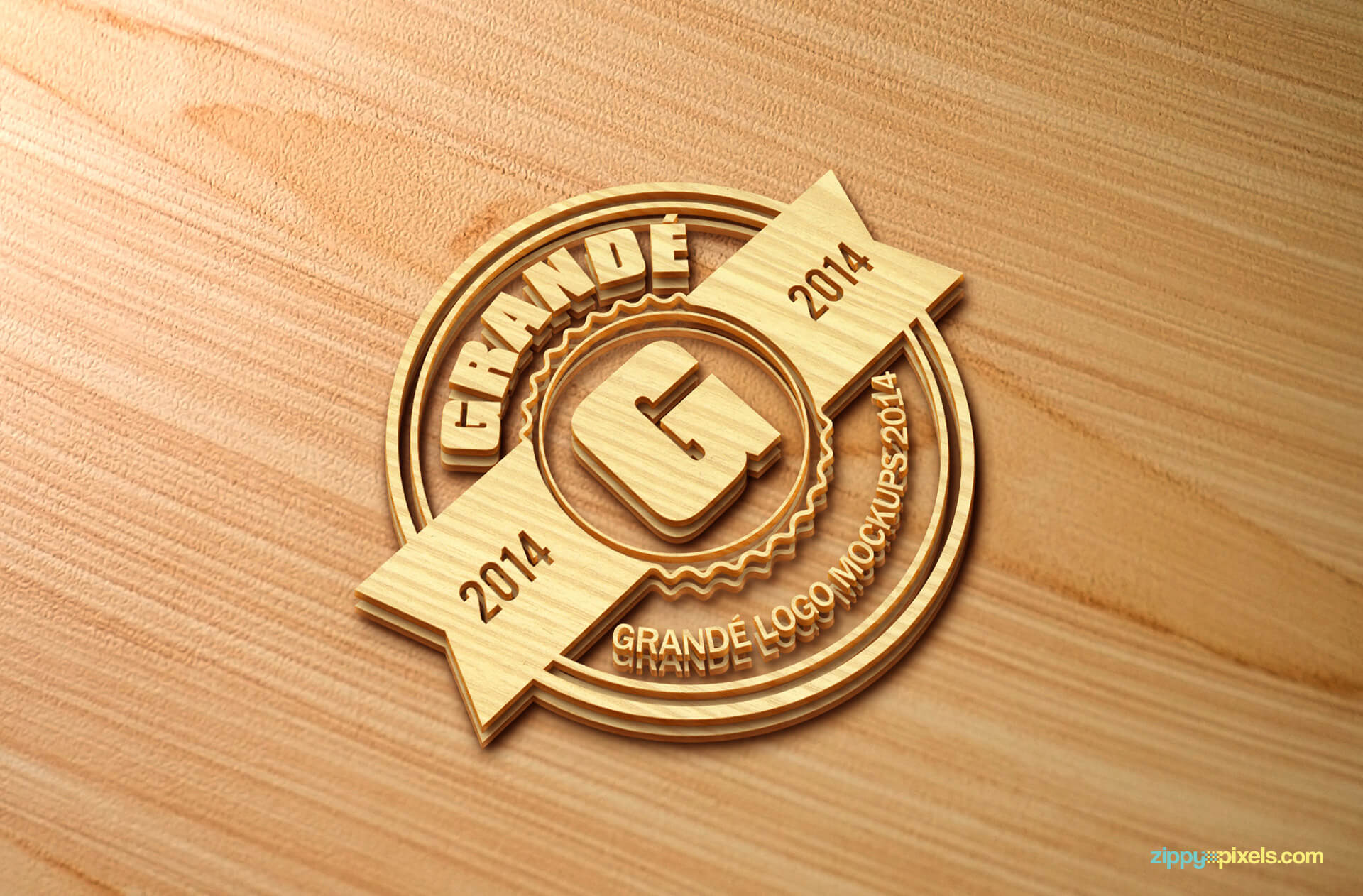 3D Wood Logo Mokcup of Embossed Wood