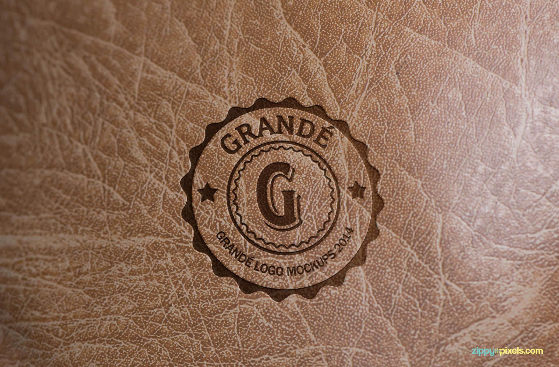 Logo Mockup - printed logo on soft leather